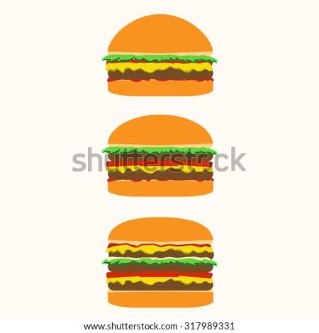 Fast food. Fast food banner flat. Hamburger banner. Double burger. Triple burger. Set of burgers with cheese, ketchup and salad. Vector burgers set. Three hamburgers. Fast food background. - stock vector