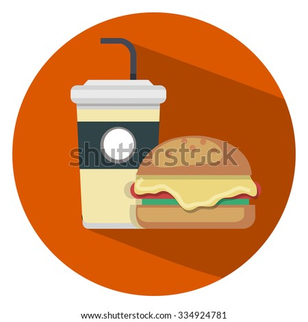 fast food flat icon - stock vector