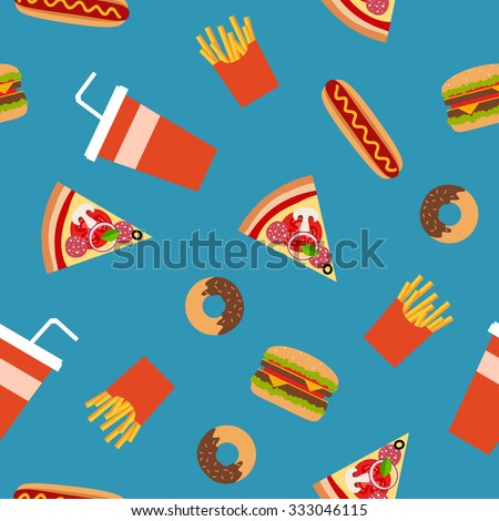 Fast food flat style seamless pattern. Vector background for your design.  - stock vector