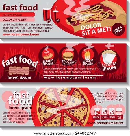 Fast Food Flyer Template Set - Vector Illustration, Graphic Design, Editable For Your Design     - stock vector