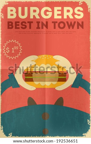 Fast Food Fun Poster in Retro Design Style. Big Burger. Vector Illustration. - stock vector