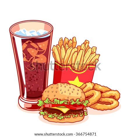 Fast-food: glass of cola, french fries, hamburger and onion rings. Delicious food isolated on the white background. Vector cartoon illustration.