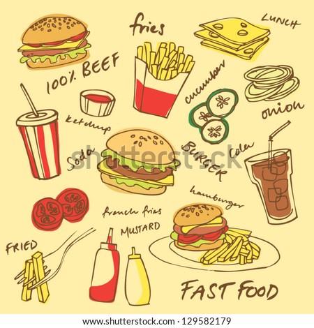 Fast food hamburger vector set - stock vector
