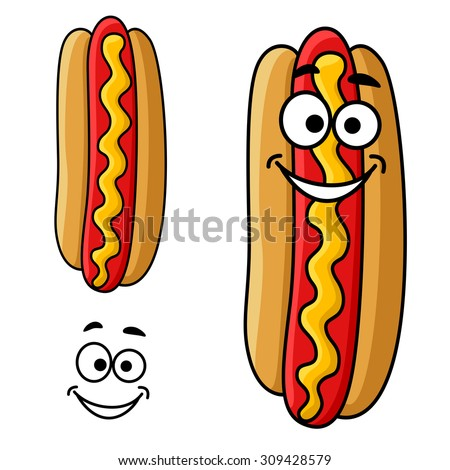 Fast food hot dog cartoon character with mustard sauce and happy smiling face, for takeaway food design - stock vector