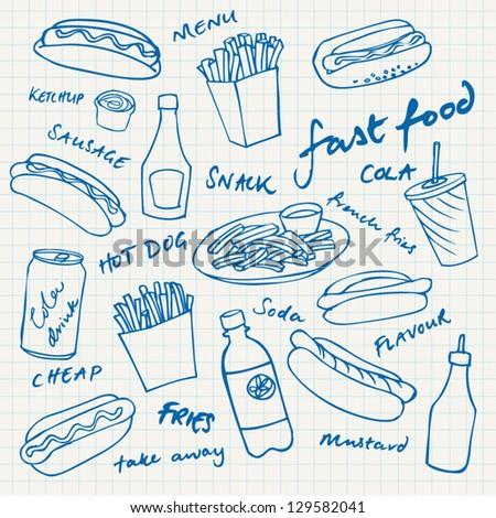 Fast food hotdog vector set - stock vector