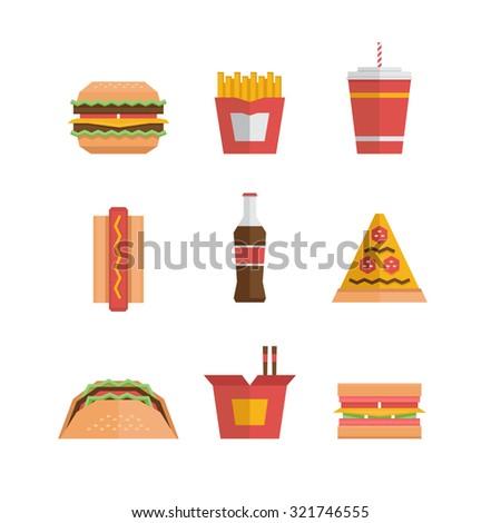 Fast food icon - hamburger, french fries, soda, pizza, hotdog, tacos, sandwich, noodle. Flat design. Vector Illustration. - stock vector