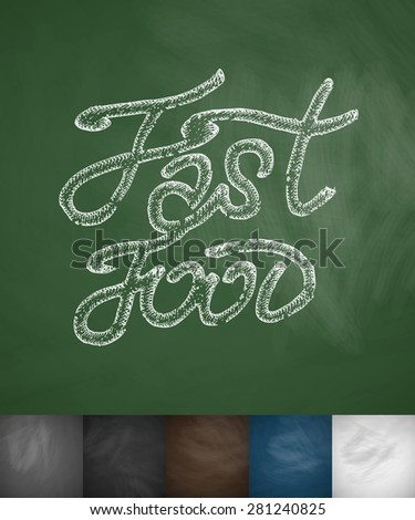 Fast Food icon. Hand drawn vector illustration. Chalkboard Design