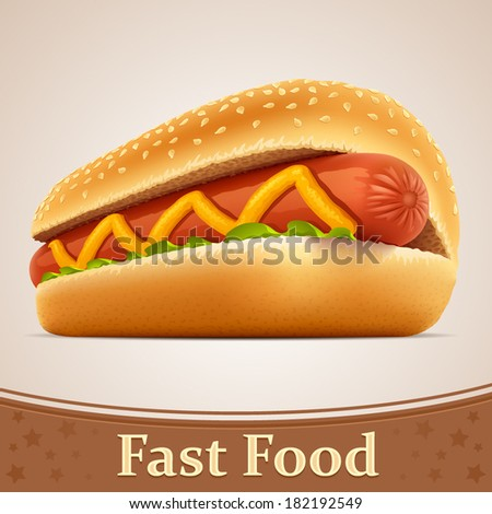 Fast food icon - Hot dog - stock vector