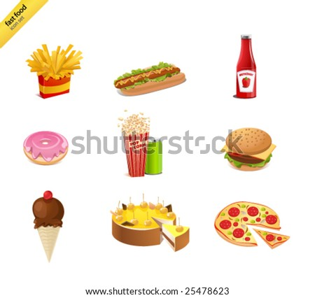 Fast food icon-set - stock vector