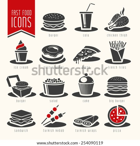 Fast food icons - 4 - stock vector
