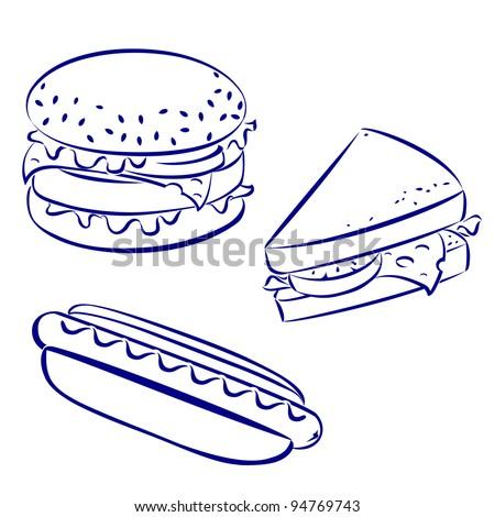 fast food icons black and white hand drawn look hamburger hot