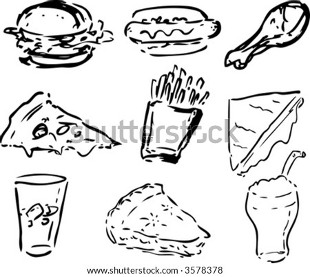 Fast food icons, black and whte hand-drawn look: hamburger, hotdog, fried chicken, pizza, fries, grilled cheese sandwich, coke, pie, shake - stock vector