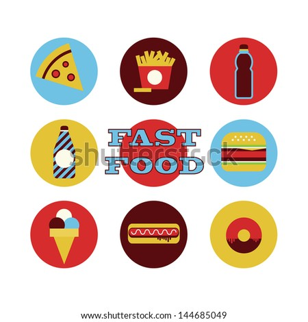 fast food icons collection. vector illustration - stock vector