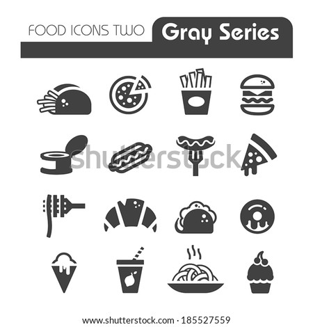 Fast Food Icons gray series - stock vector
