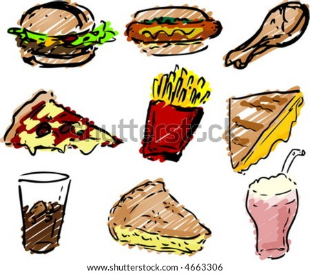 Fast food icons, hand-drawn look: hamburger, hotdog, fried chicken, pizza, fries, grilled cheese sandwich, coke, pie, shake rough sketchy coloring - stock vector