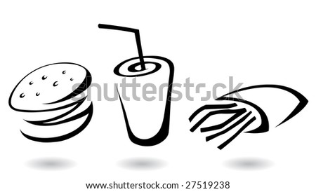fast food icons line art illustrations, isolated - stock vector