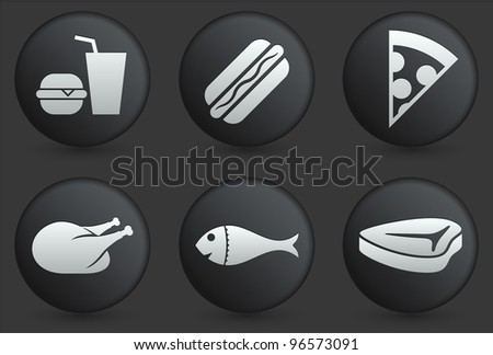 Fast Food Icons on Black Internet Button Collection Original Illustration - stock vector