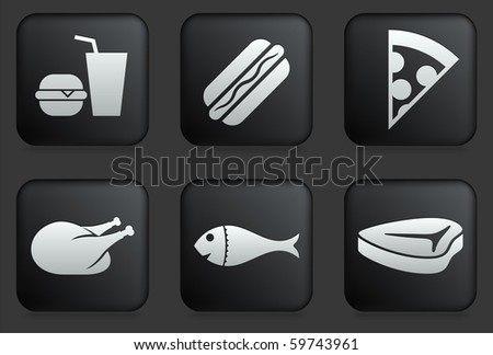 Fast Food Icons on Square Black Button Collection Original Illustration - stock vector