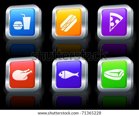 Fast Food Icons on Square Button Collection with Metallic Rim Original Illustration - stock vector