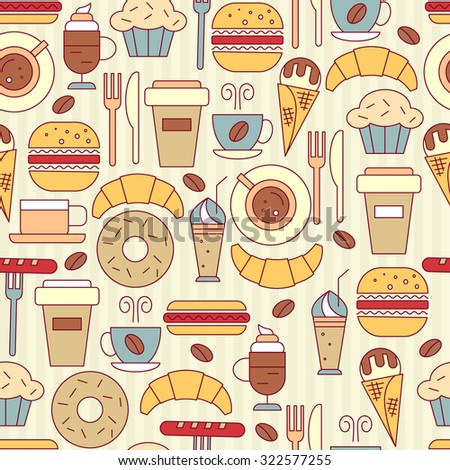 Fast food icons seamless pattern with  burger, hot dogs, coffee, muffin, croissant, ice cream, for your design. Vector illustration. - stock vector