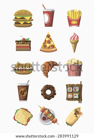 Fast food icons set. Flat design. Template elements for web and mobile applications. - stock vector