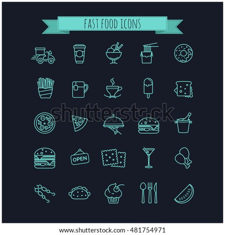 fast food icons set for your design, web