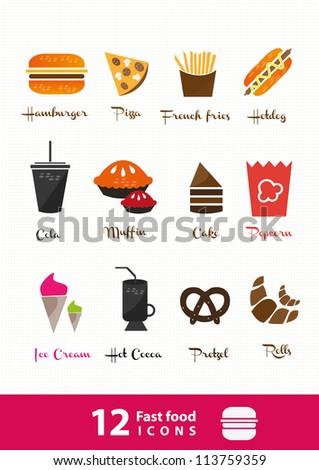 fast food icons set high detailed (color) - stock vector
