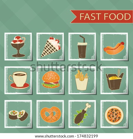 fast food icons set on tablecloth background  - stock vector