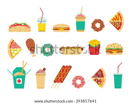 Fast food icons set. Vector fast food icons. Fast food isolated icons. Flat fast food icons. Vector fast food  Hotdog, burger, fries, donut, taco, pizza, chicken, hot dog, chinese food, soda, coffee. - stock vector