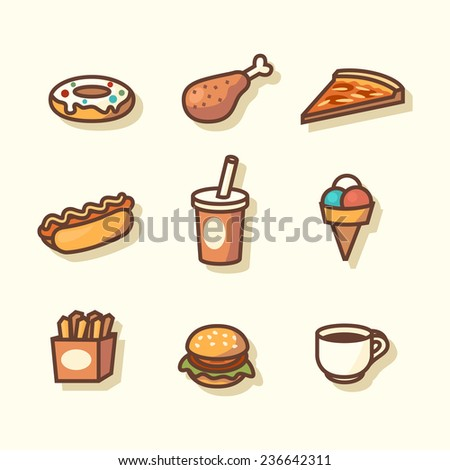 Fast food icons. Vector illustration. - stock vector