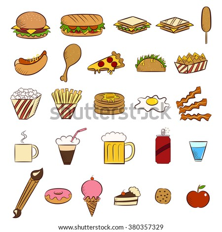Fast food, icons, vector illustration set collection