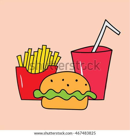 Fast food illustration, burger, drink and french fries vector isolated sign symbol