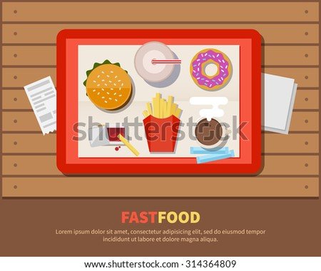 Fast food, illustration in a flat style. The tray with hot-dog, fries, soda, donut and coffee on wooden table - stock vector