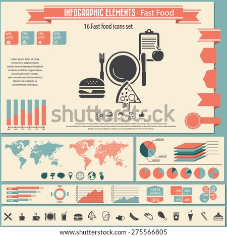 Fast food - infographics elements and icons set. - stock vector