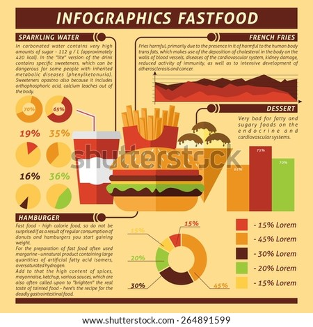 Fast food infographics set with desserts and drinks symbols and charts vector illustration - stock vector