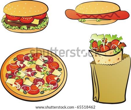 fast food  isolated set, pizza, kebab, hotdog, hamburger - stock vector
