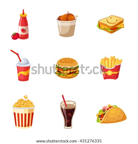 Fast Food Items Set Of Realistic Design Vector Stickers Isolated On White Background