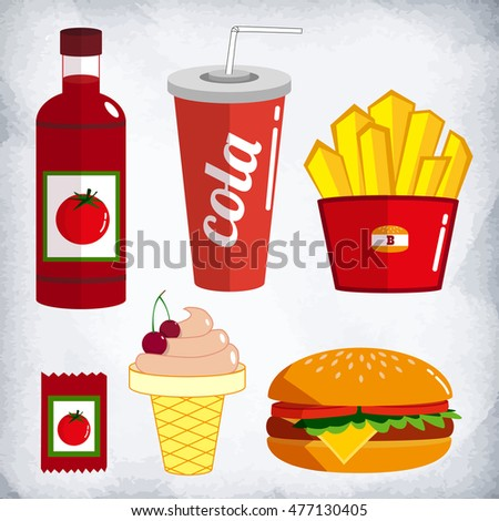 Fast food kit. The set of products of a fast food, this food badly affects on health, but it very tasty. The set is drawn in style of flat design or animation style.