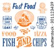 Fast Food logo and lettering set. Blue & orange. Simple drawn sketch in vector format.
