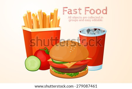 fast food, lunch, meal, set - stock vector