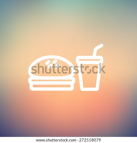 Fast food meal icon thin line for web and mobile, modern minimalistic flat design. Vector white icon on gradient mesh background. - stock vector