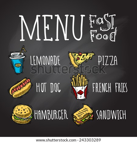 Fast food menu chalkboard decorative icons set with lemonade hot dog hamburger pizza french fries hamburger and sandwich isolated vector illustration - stock vector