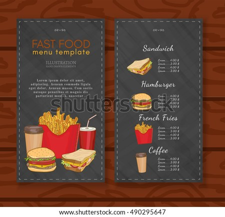 Fast Food Menu Design Template Fast Stock Vector 490295647