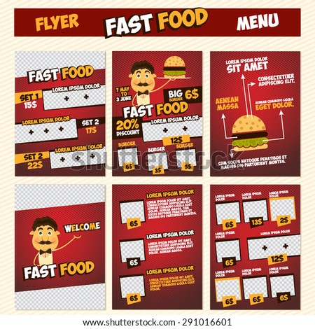 Fast Food Menu Flyer Template Set Stock Vector   Shutterstock
