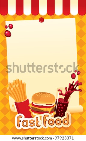 fast-food menu for burger, fries and cola - stock vector