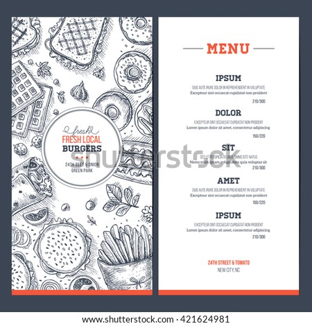 Fast food menu. Linear graphic. Snack collection. Junk food cafe. Engraved top view illustration. Vector illustration - stock vector