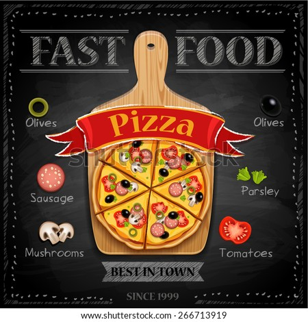 Fast food menu  - pizza (vector illustration) - stock vector