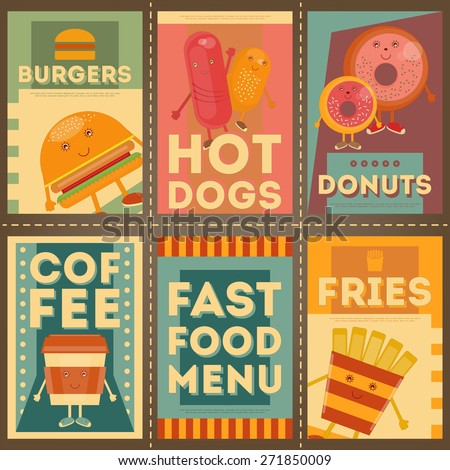 Fast Food Menu Posters Set. Retro Brochure. Cartoon Style. Vector Illustration. - stock vector