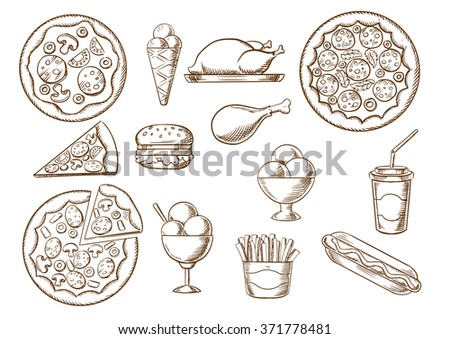 Fast food  menu sketches of pizza with different toppings, french fries box, hamburger and hot dog, fried chicken, ice cream cone and sundae desserts, soda paper cap. Vector takeaway food sketches set