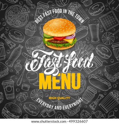 Fast Food Menu Template Hand Drawn Stock-Vektorgrafik 499326607 ...